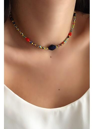 My Joyas Design Minik Nazar Boncuk ve Lacivert Cam Taşlı Kolye Renkli